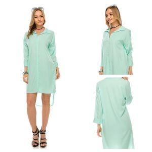 Coral Hi- Low Shirt Dress